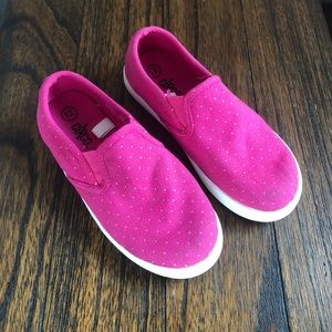 Circo Slip Ons, Pink with Gold Poke-a-dots